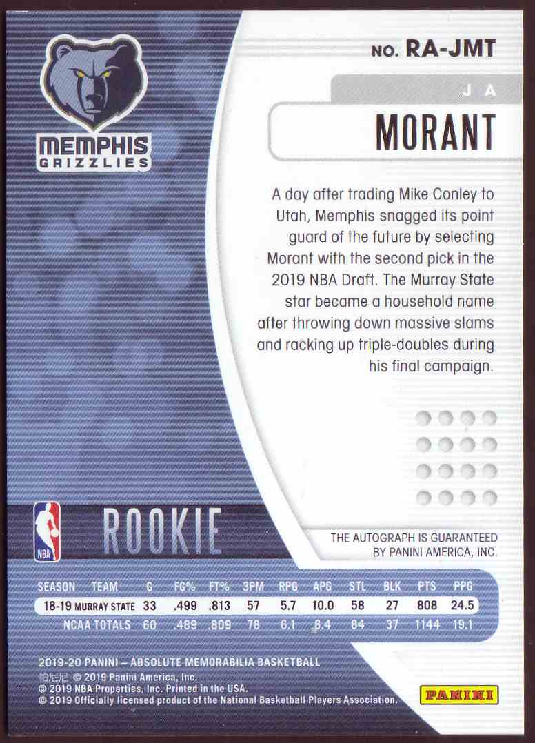 2019-20 Absolute Memorabilia Rookie Autographs Ja Morant #RA-JMT card back image