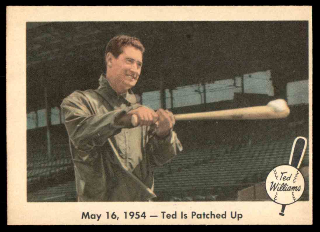 1959 Fleer Ted Williams May 16, 1954 - Ted Is Patched Up #51 card front image