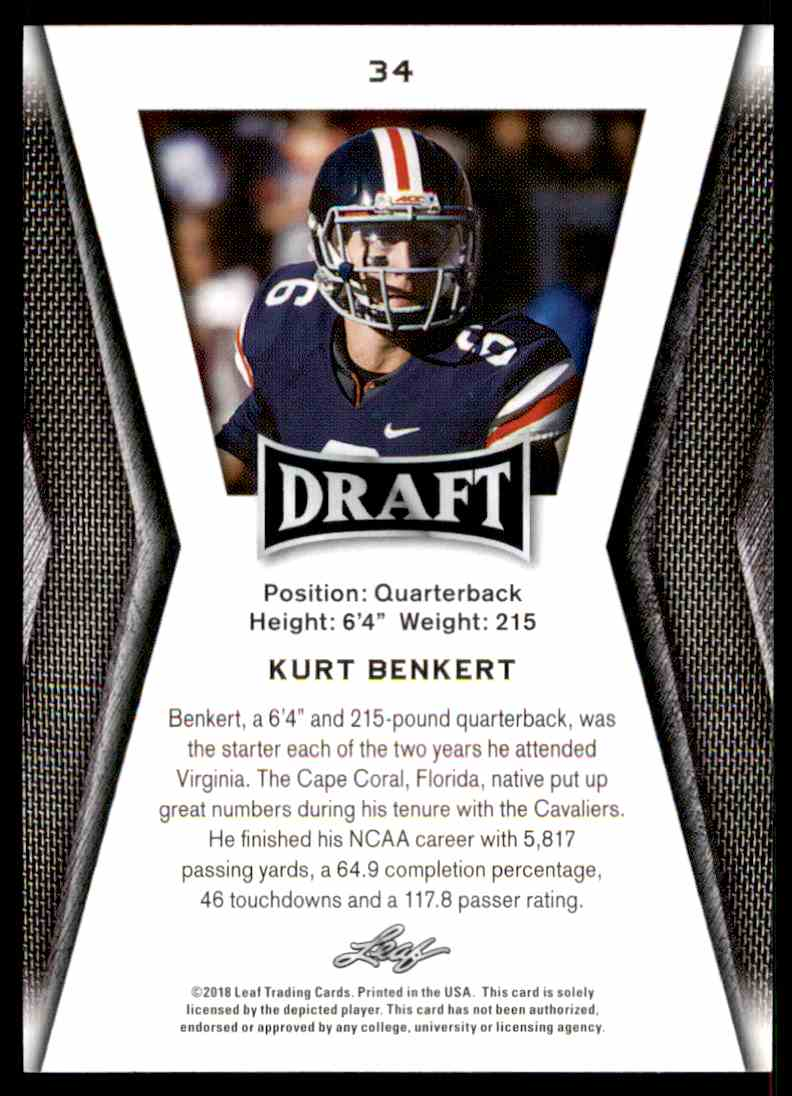 2018 Leaf Draft Kurt Benkert #34 card back image