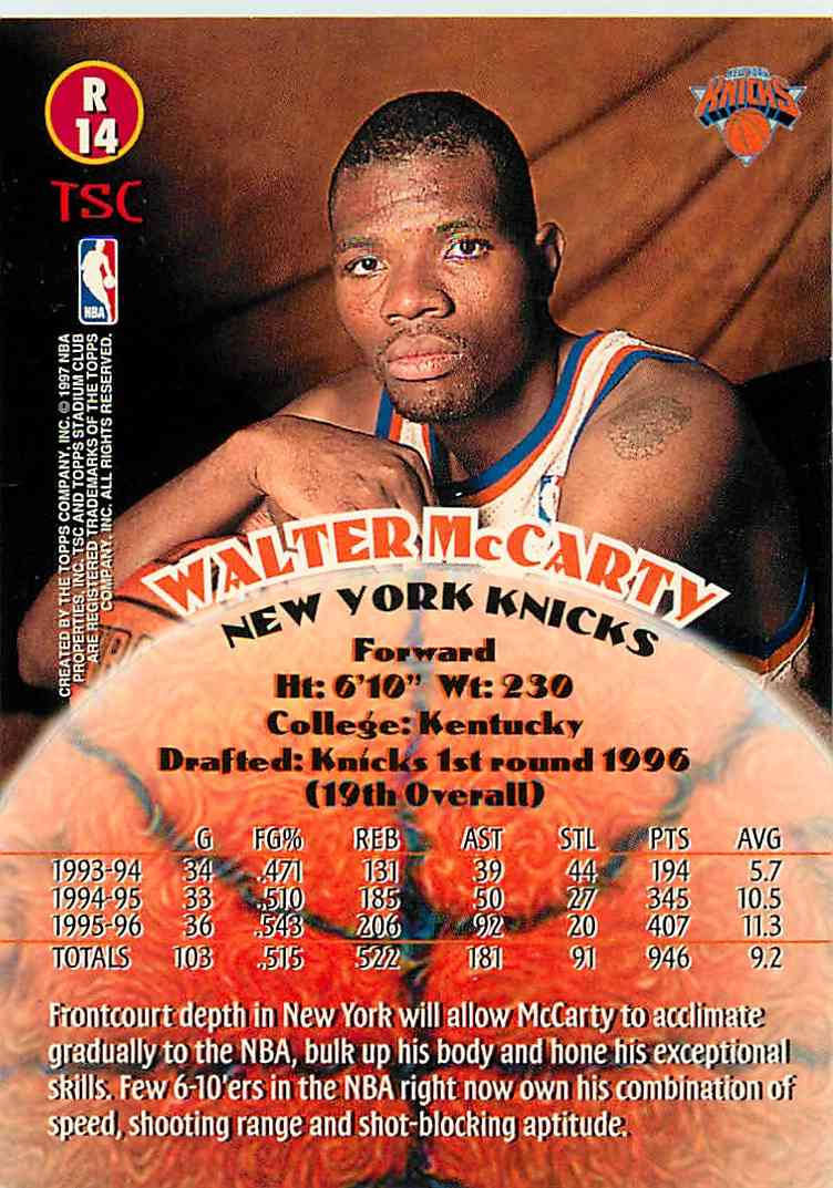 1995-96 Topps Stadium Club Walter Mccarty #14 card back image