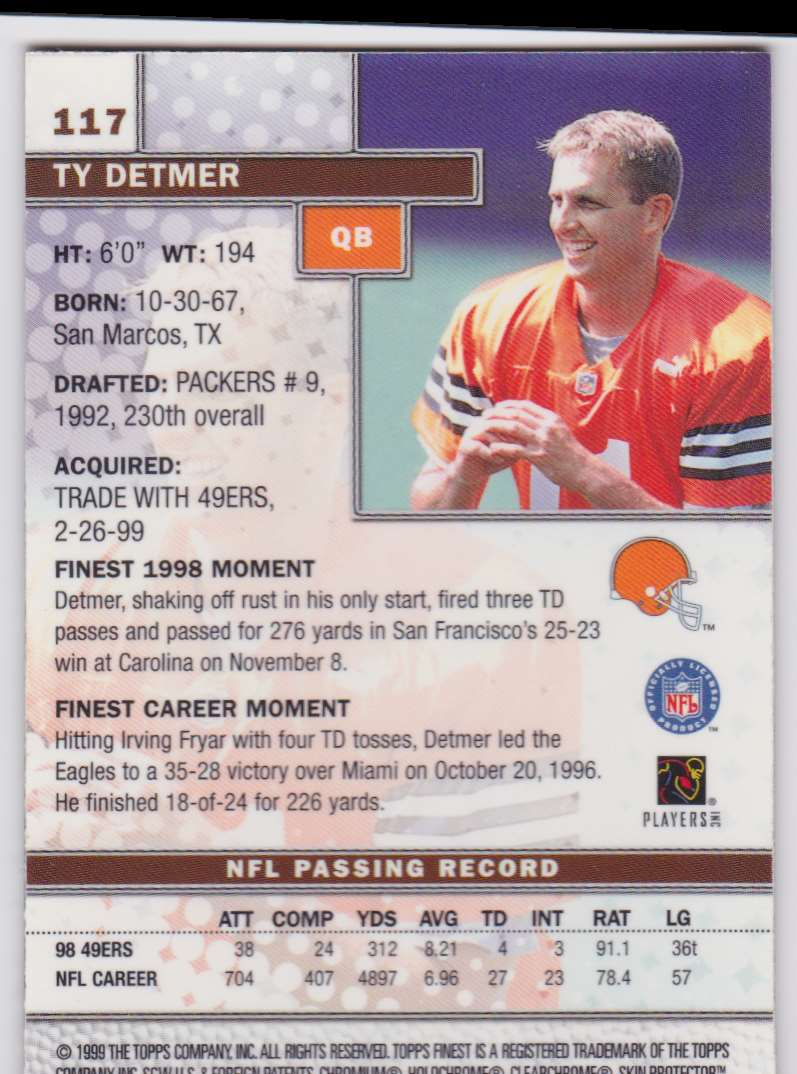 1999 Topps Finest Ty Detmer #117 card back image
