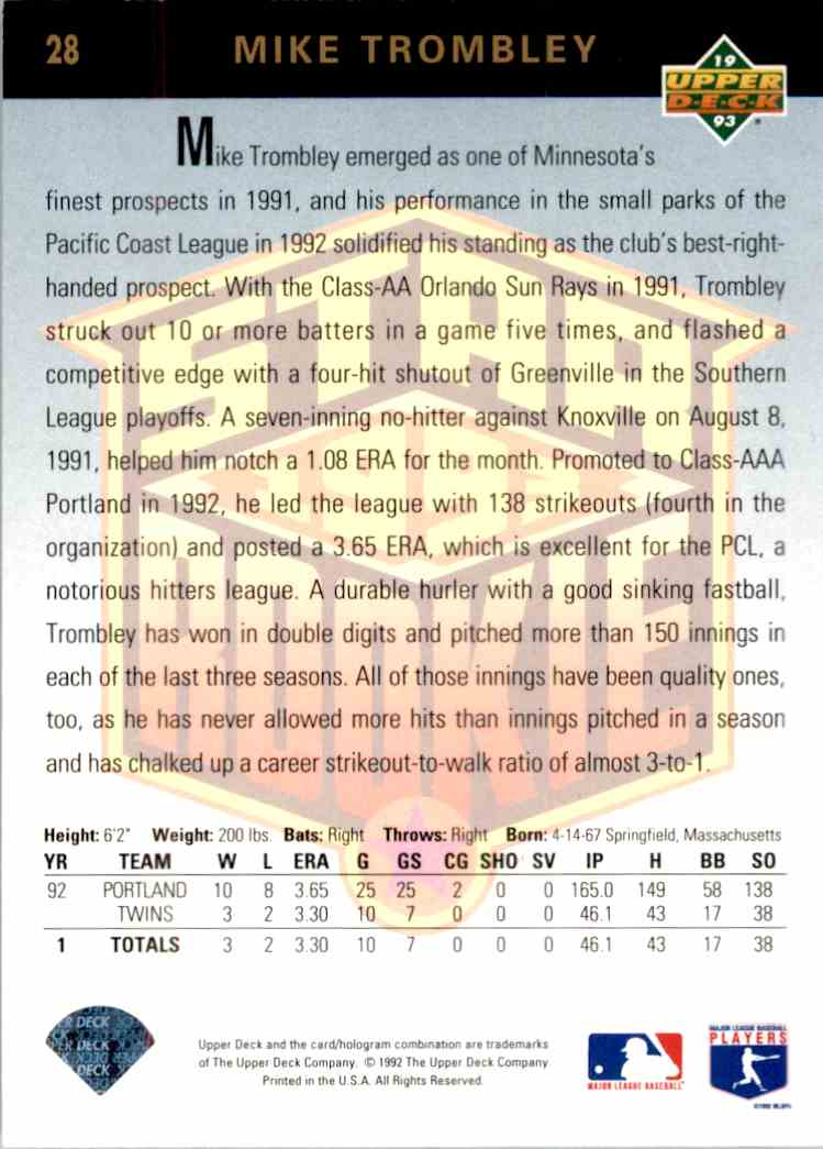 1993 Upper Deck Star Rookie Mike Trombley #28 card back image