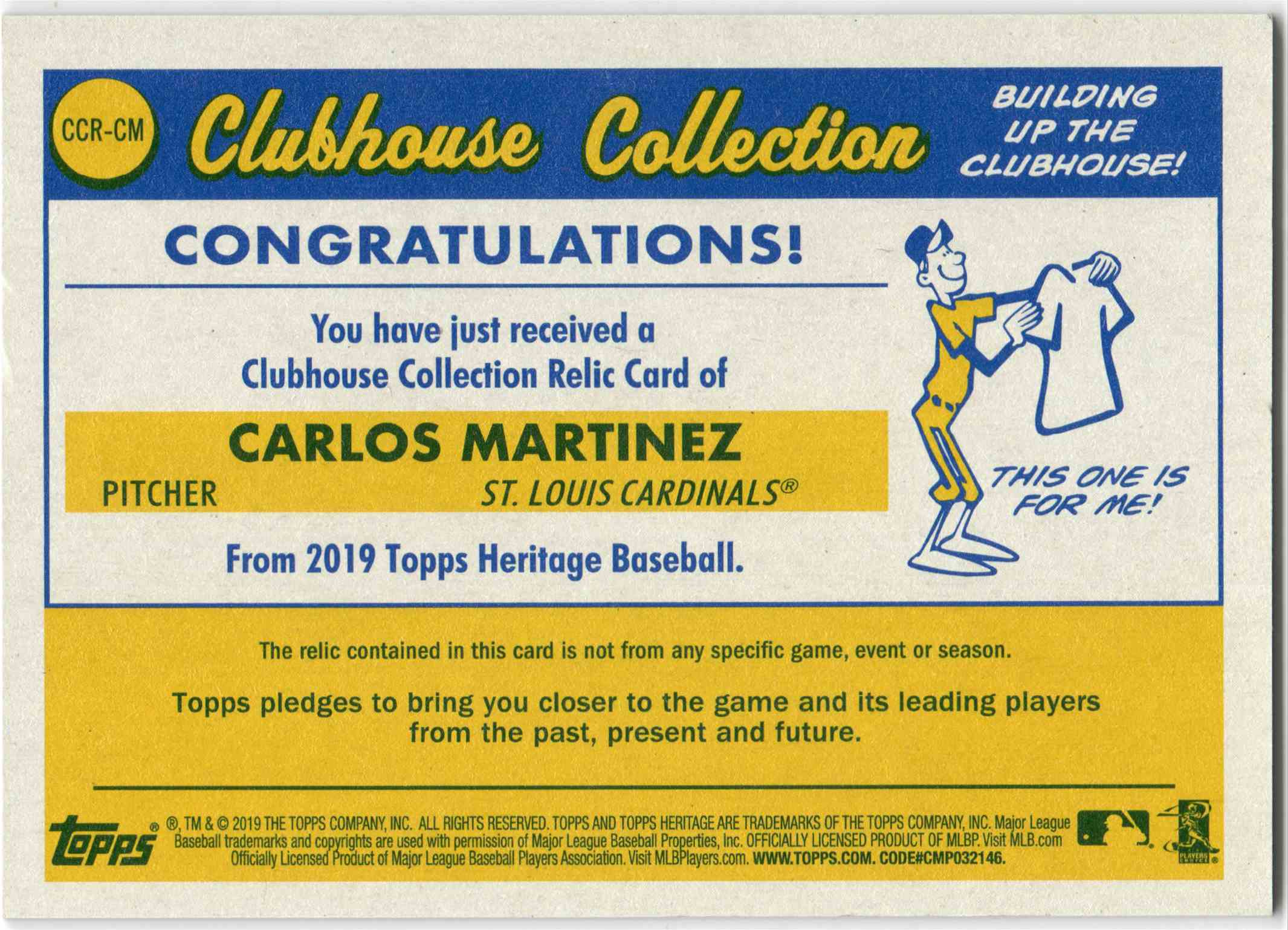 2019 Topps Clubhouse Collection Carlos Martinez #CCR-CM card back image