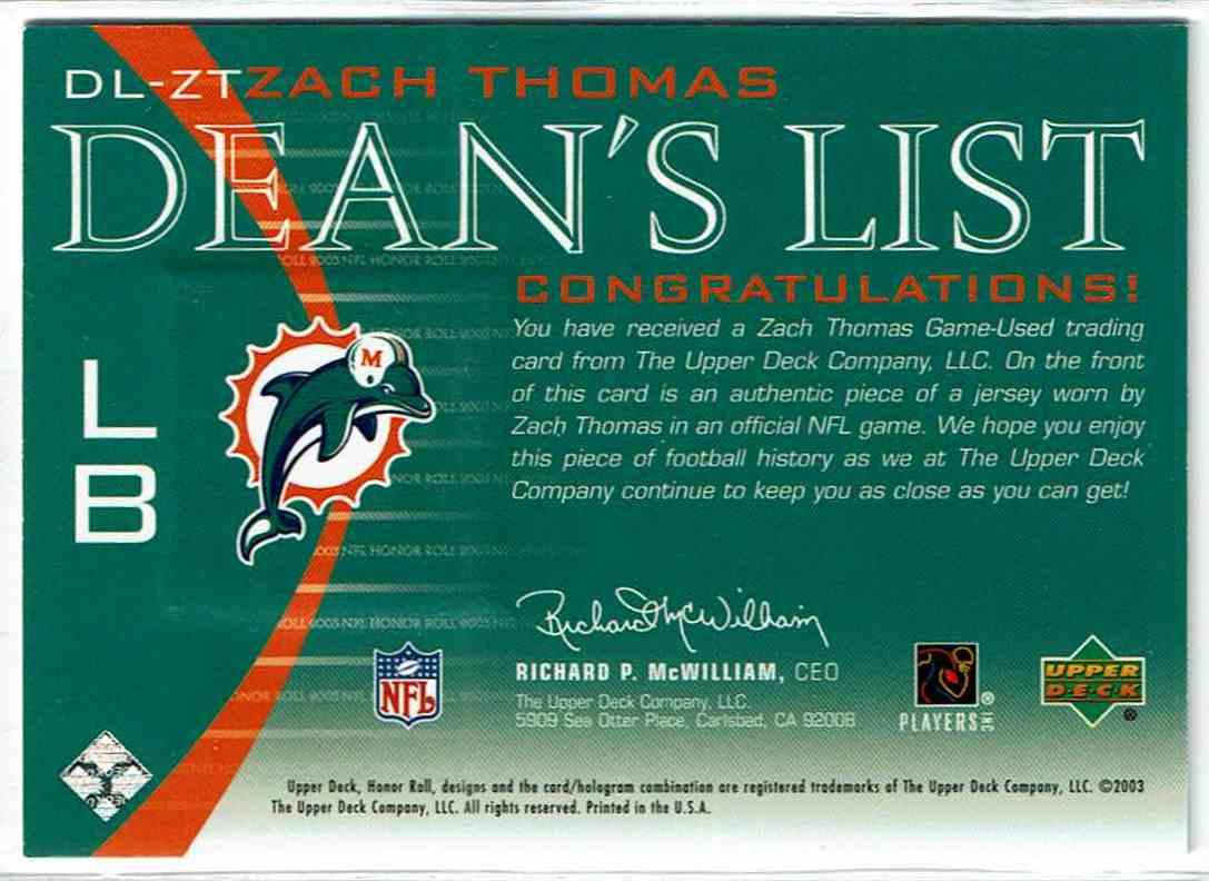 detailed look f2988 00ca9 2003 Upper Deck Honor Roll Dean's List Jerseys Zach ...