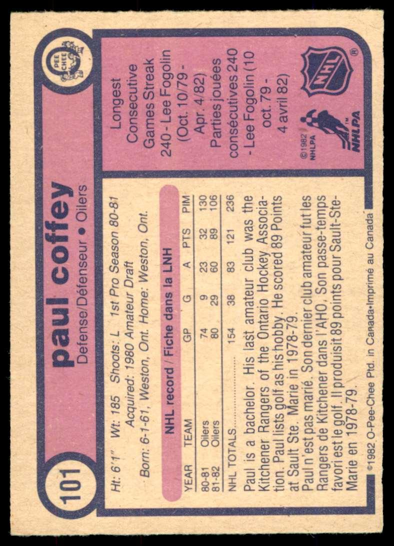1982-83 OPC Paul Coffey #101 card back image