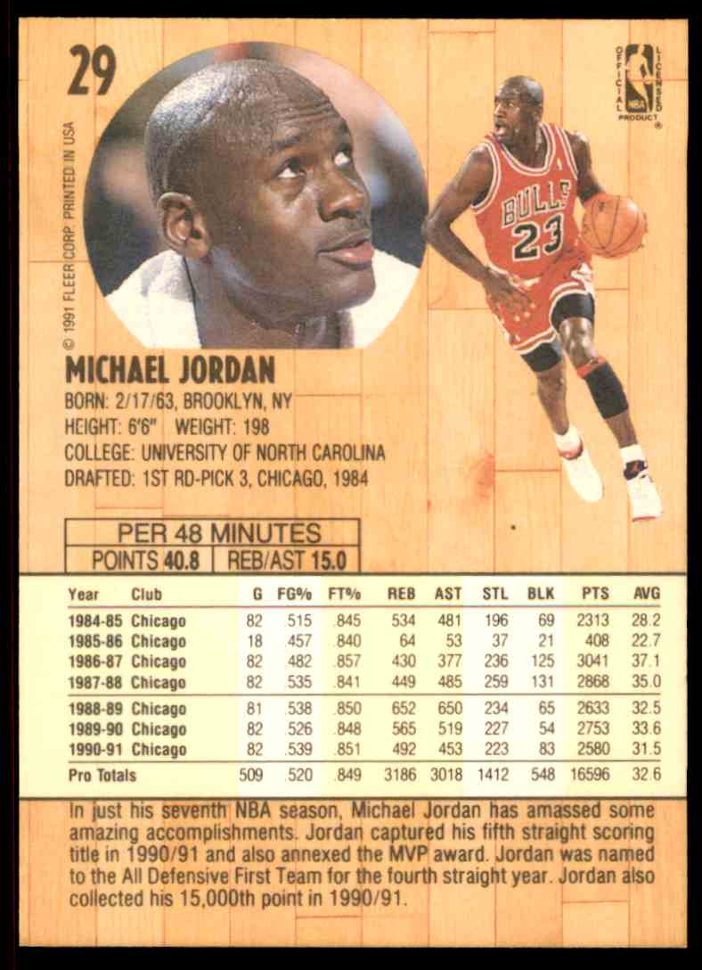 0ffe08cceca83e ... purchase real card back image 1991 92 fleer michael jordan 29 card back  image 6077a c8e4a