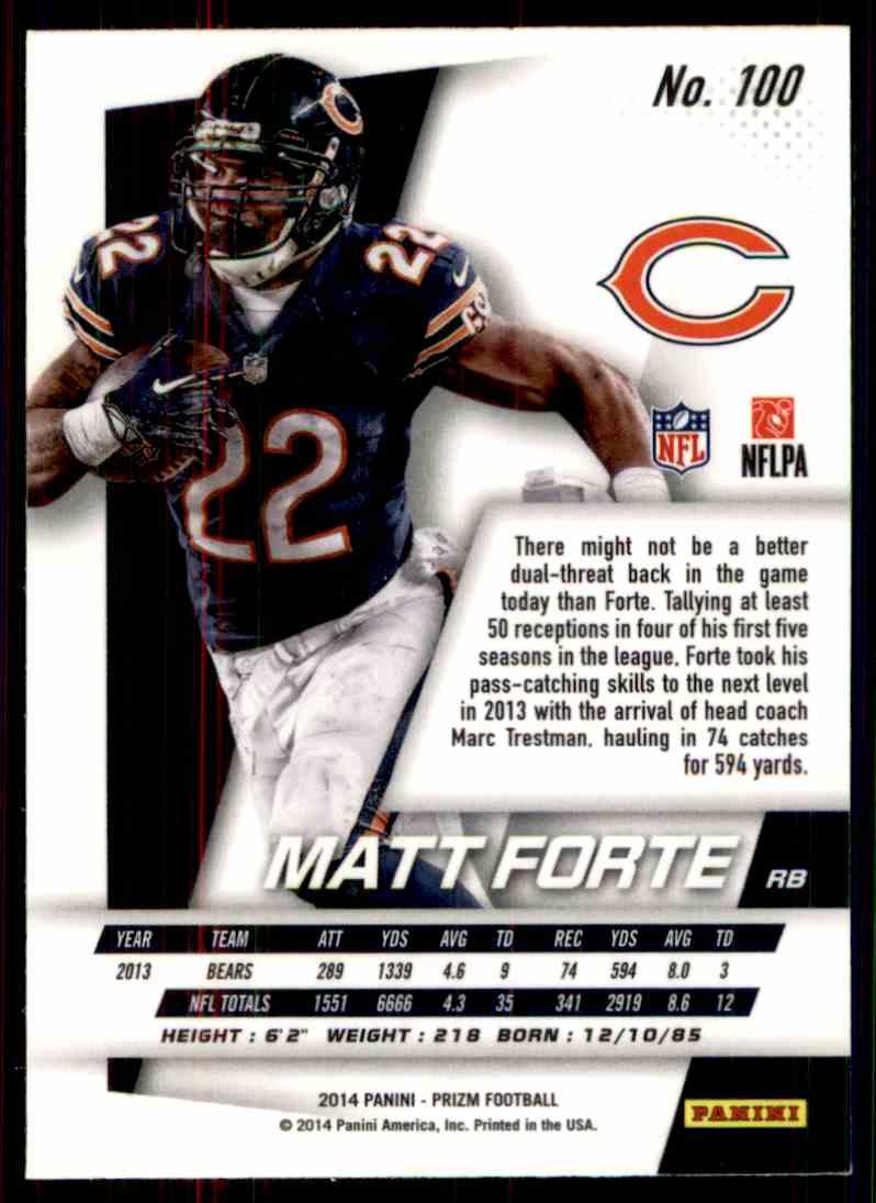 2014 Prizm Matt Forte #100 card back image