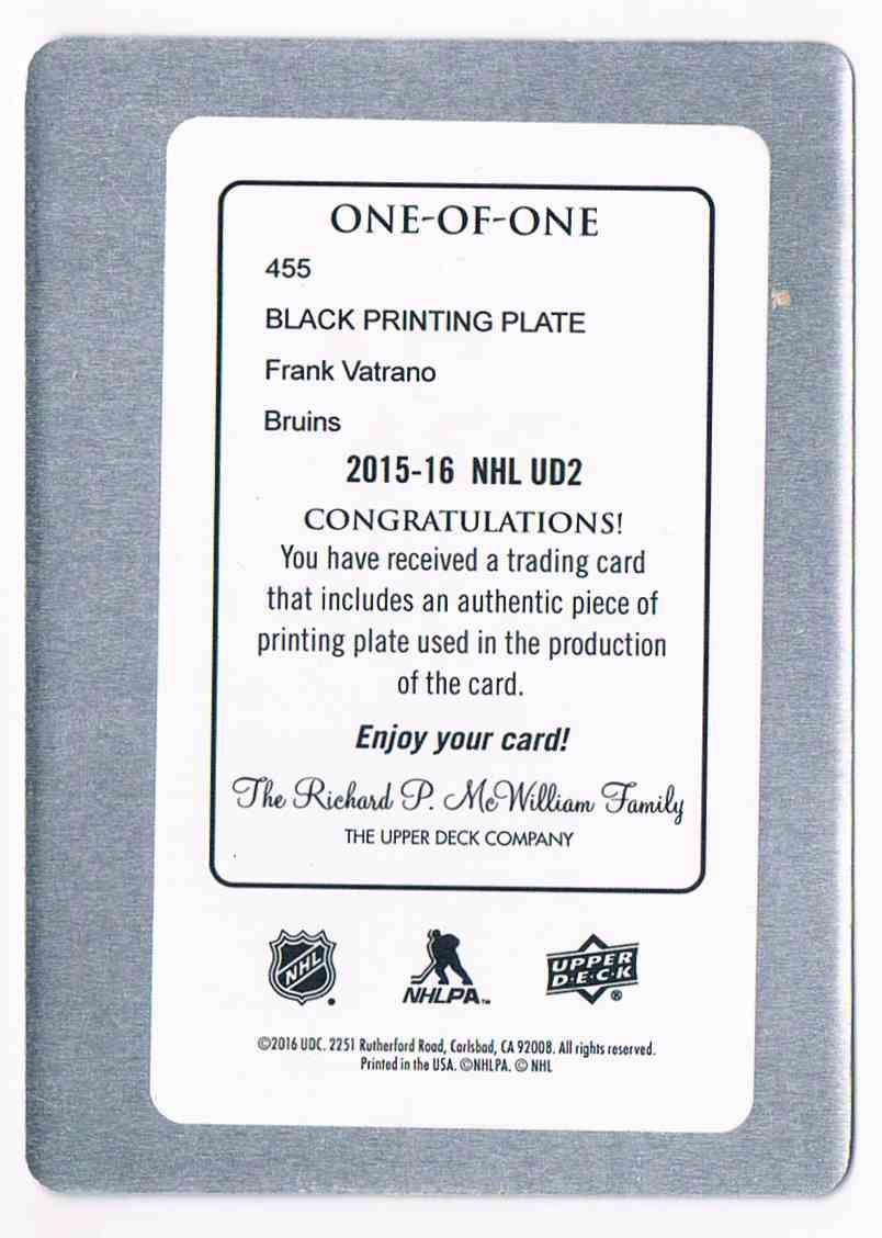 2015-16 Upper Deck Upper Deck Young Guns Printing Plate Black Frank Vatrano #455 card back image