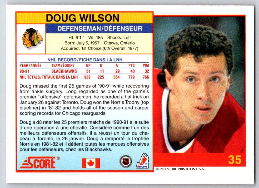 1991-92 Score Canadian Bilingual Doug Wilson #35 card back image