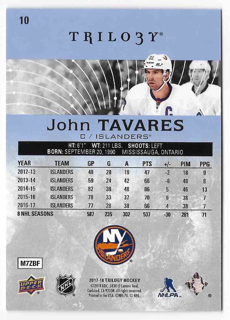 2017-18 Upper Deck Trilogy John Tavares #10 card back image