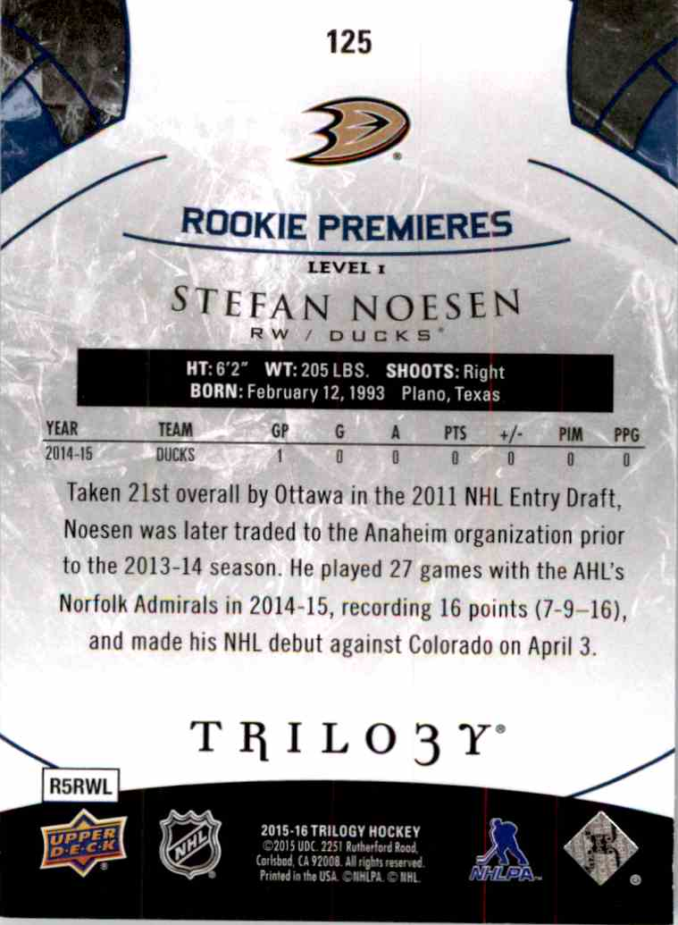 2015-16 Upper Deck Trilogy Rainbow Blue Stefan Noesen #125 card back image