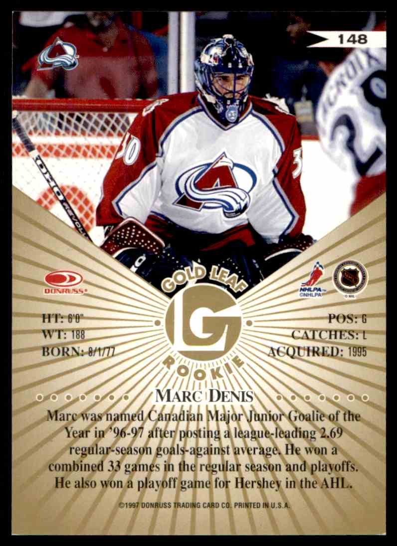 1997-98 Leaf Fractal Matrix Marc Denis #148 card back image