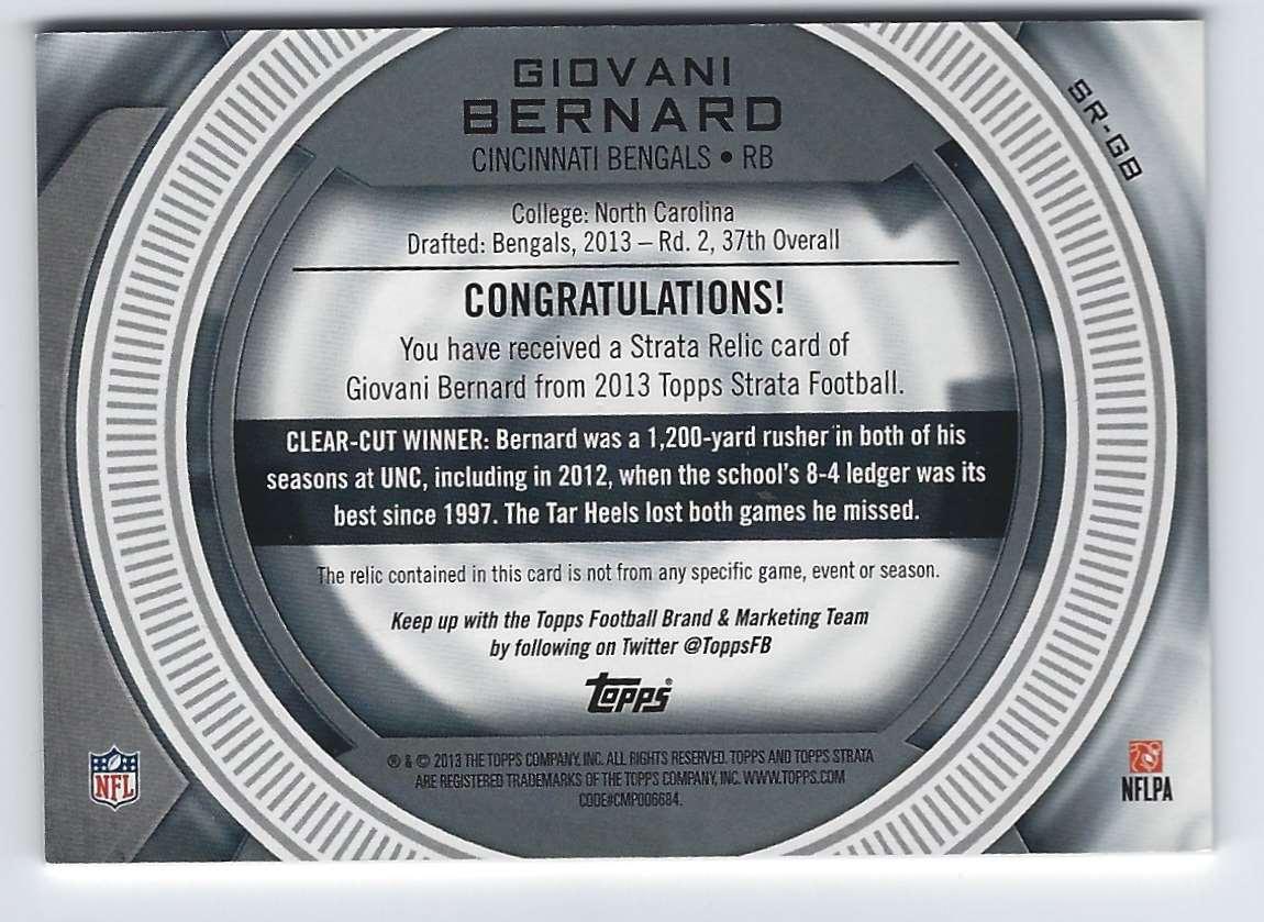 2013 Topps Strata Jerseys Bronze Giovani Bernard #SRGB card back image