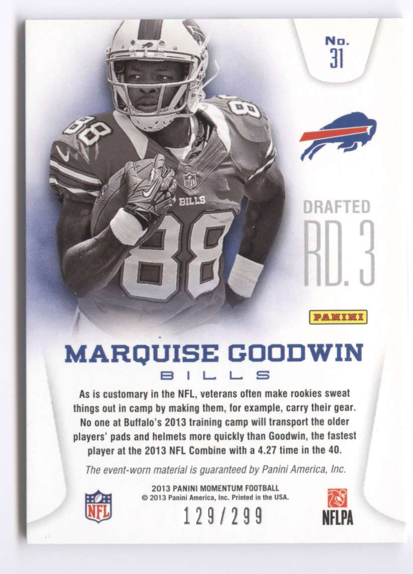 2013 Panini Momentum Rookie Team Threads Triple Materials Marquise Goodwin #31 card back image