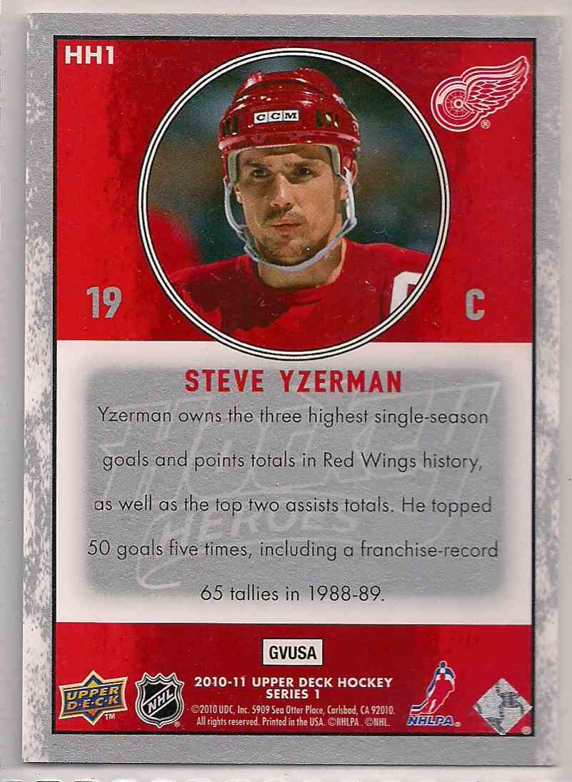 2010-11 Upper Deck Hockey Heroes Steve Yzerman Steve Yzerman #HH1 card back image