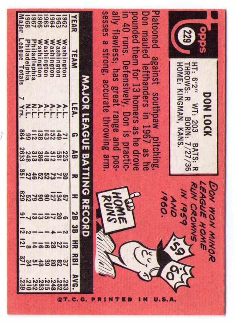 1969 Topps 50th Anniversary 2018 Topps Heritage Buyback Don Lock #229 card back image