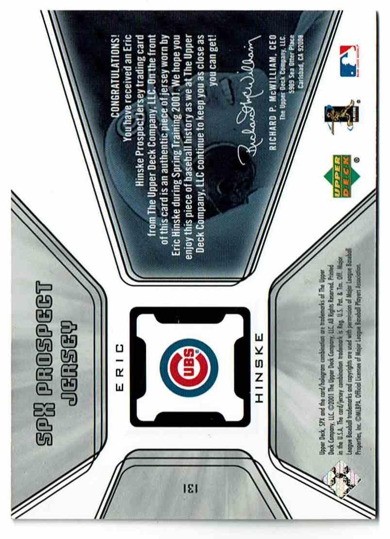 2001 SPx Eric Hinske #131 card back image