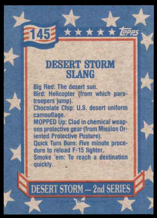 1991 Desert Storm Topps Desert Storm Slang #145 card back image