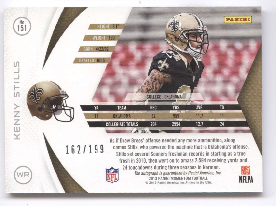 2013 Panini Momentum Rookie Signatures Kenny Stills #151 card back image