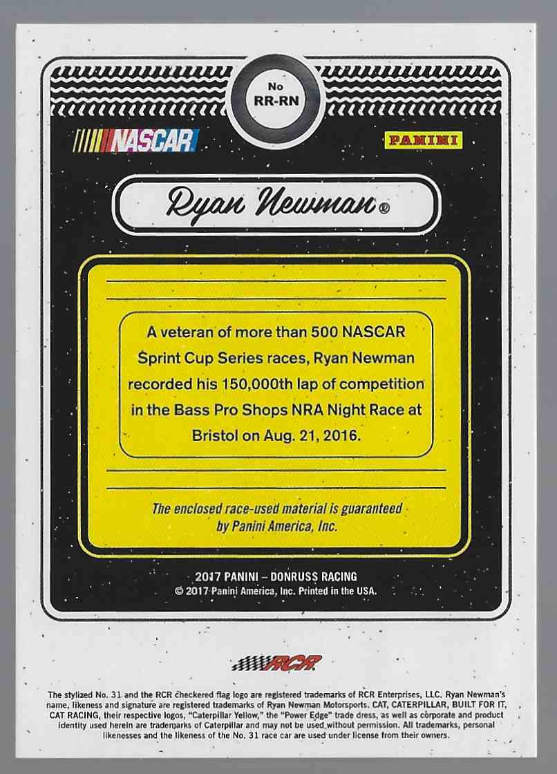 2017 Donruss Rubber Relics Ryan Newman #RRRN card back image