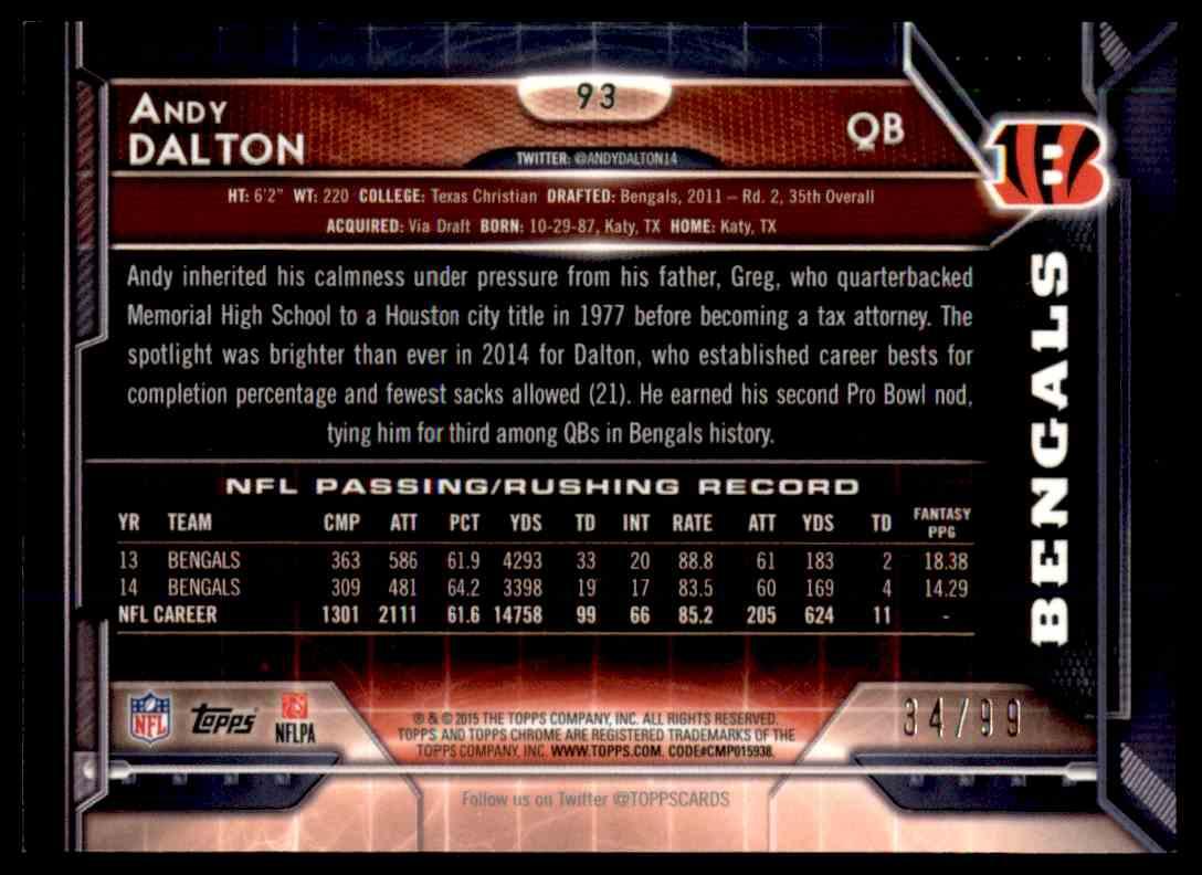 2015 Topps Chrome Sepia Refractor Andy Dalton #92 card back image