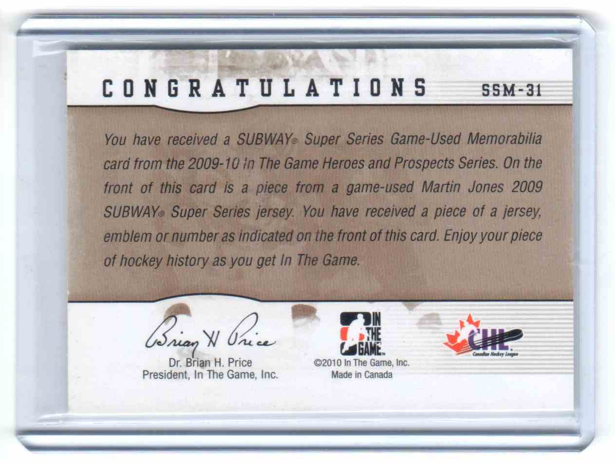 2009-10 In The Game Heroes And Prospects Subway Series Jersey Martin Jones #SSM-31 card back image