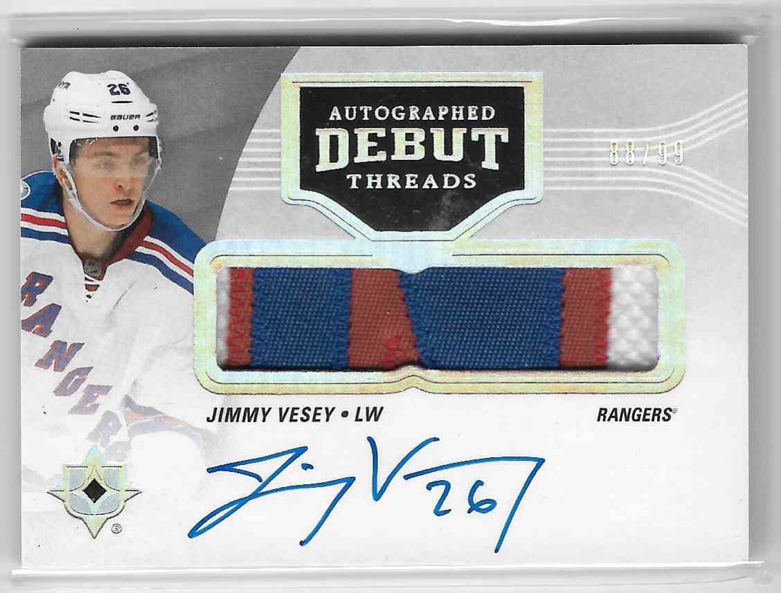 2016-17 Upper Deck Ultimate Jimmy Vesey #DT-JV card front image