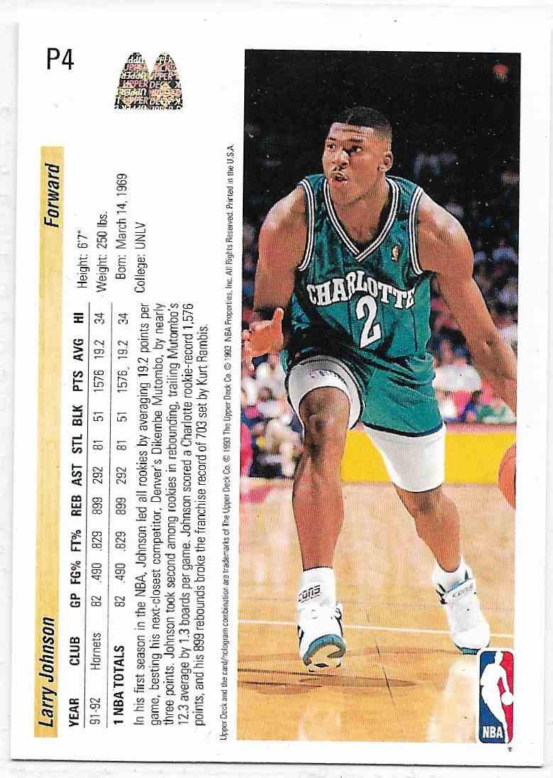 1993-94 Upper Deck McDonald Larry Johnson #P4 card back image