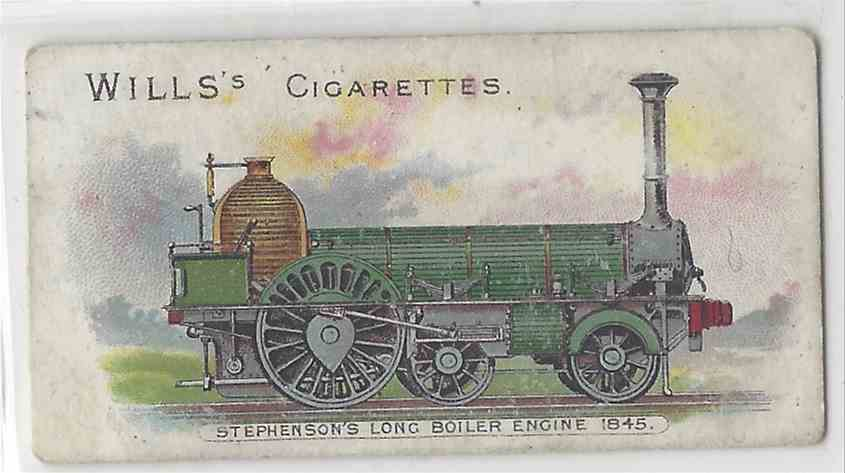 1901 Will's Locomotives & Rolling Stock Stephenson's Long Boiler Engine 1845 #NON card front image
