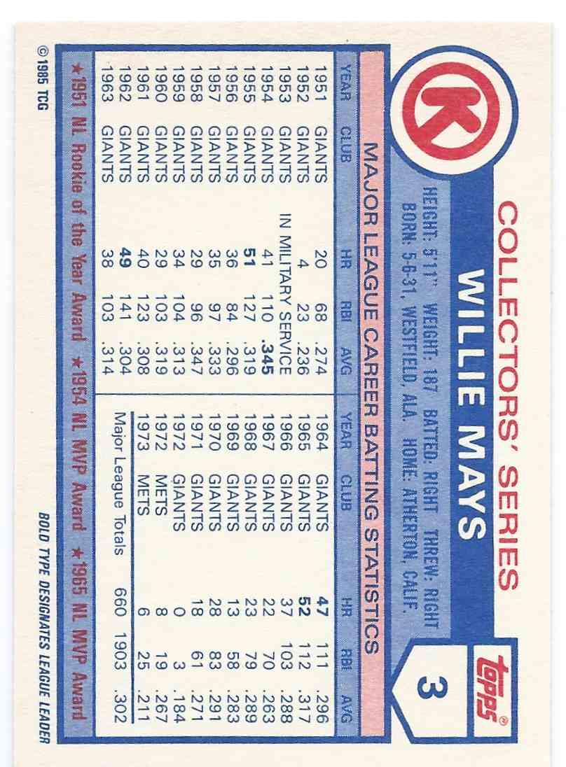 1985 Topps Circle K Willie Mays #3 on Kronozio