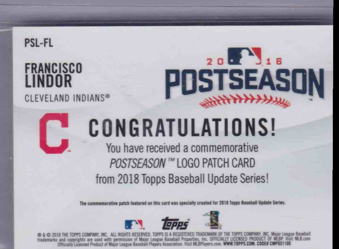 2018 Topps Postseason Logo Patch Card Francisco Lindor #PSL-FL card back image