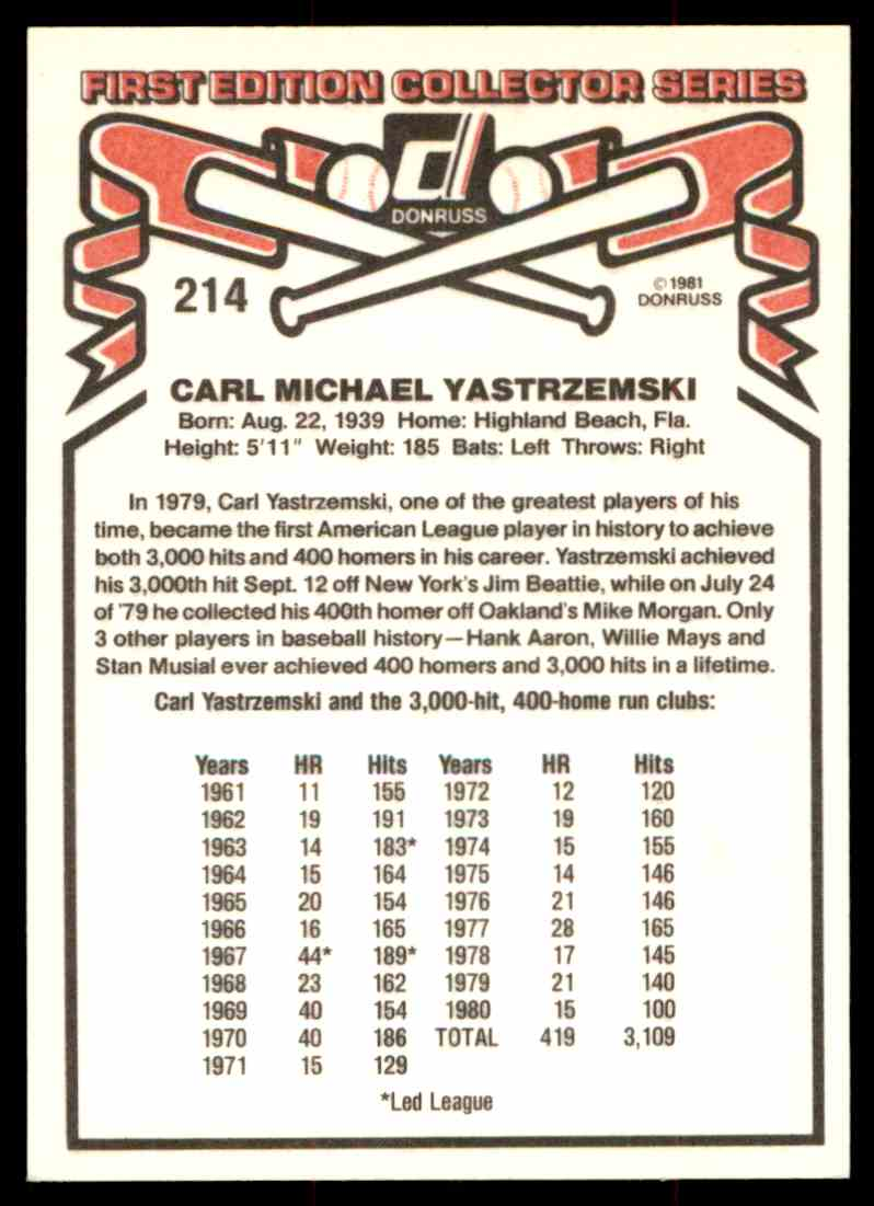 1981 Donruss Carl Yastrzemski #214 card back image