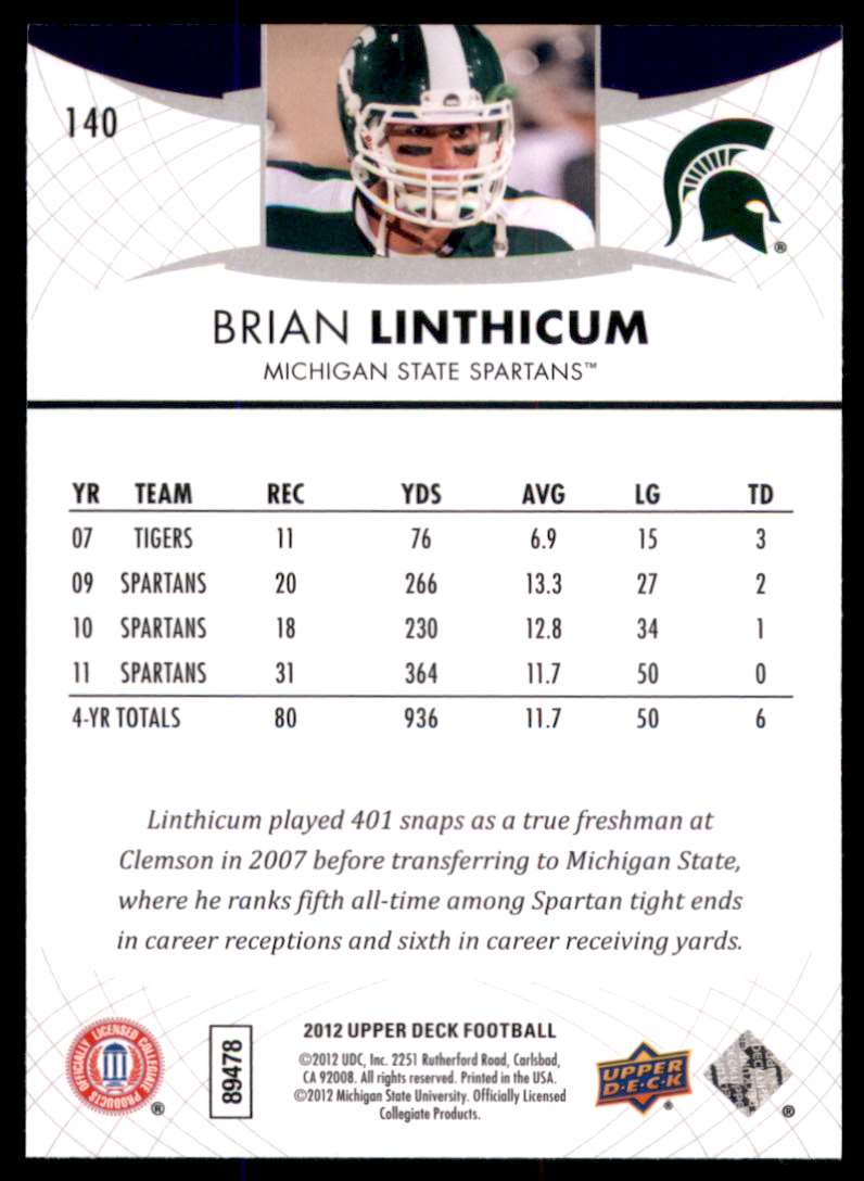 2012 Upper Deck Brian Linthicum #140 card back image