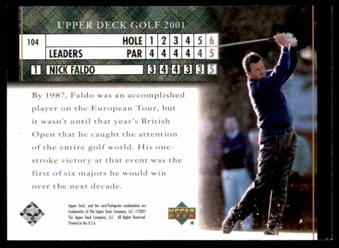 2001 Upper Deck Nick Faldo Lb #104 card back image