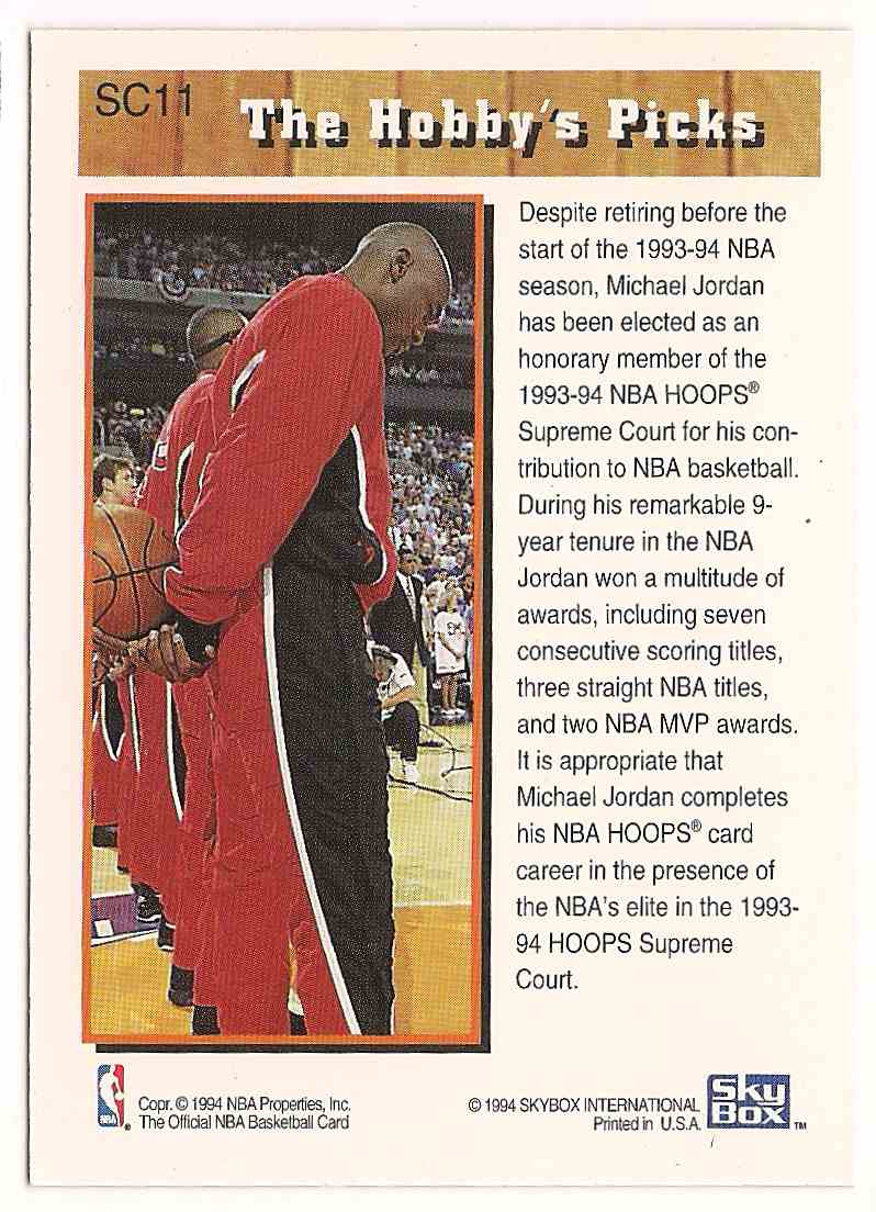 1993-94 Hoops Supreme Court Michael Jordan #SC11 card back image