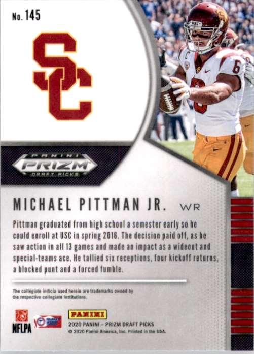 2020 Panini Prizm Draft Picks Michael Pittman JR. RC #145 card back image