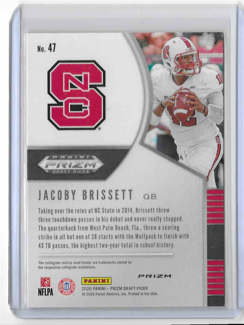 2020 Panini Prizm Draft Picks Red Jacoby Brissett #47 card back image