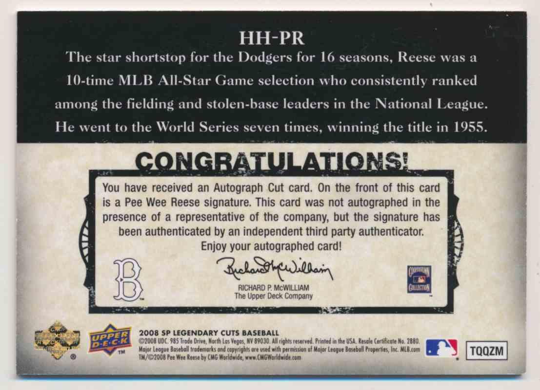 2008 SP Legendary Cuts Headliners & Heros Pee Wee Reese Cut Signature card back image