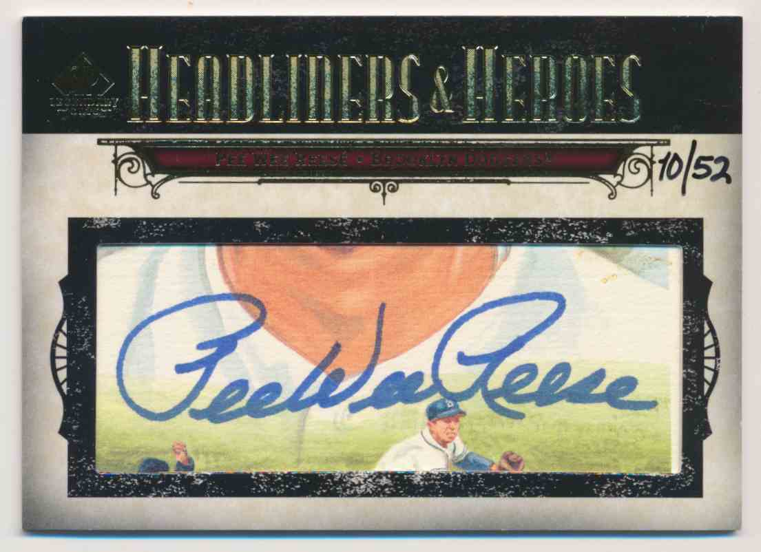 2008 SP Legendary Cuts Headliners & Heros Pee Wee Reese Cut Signature card front image