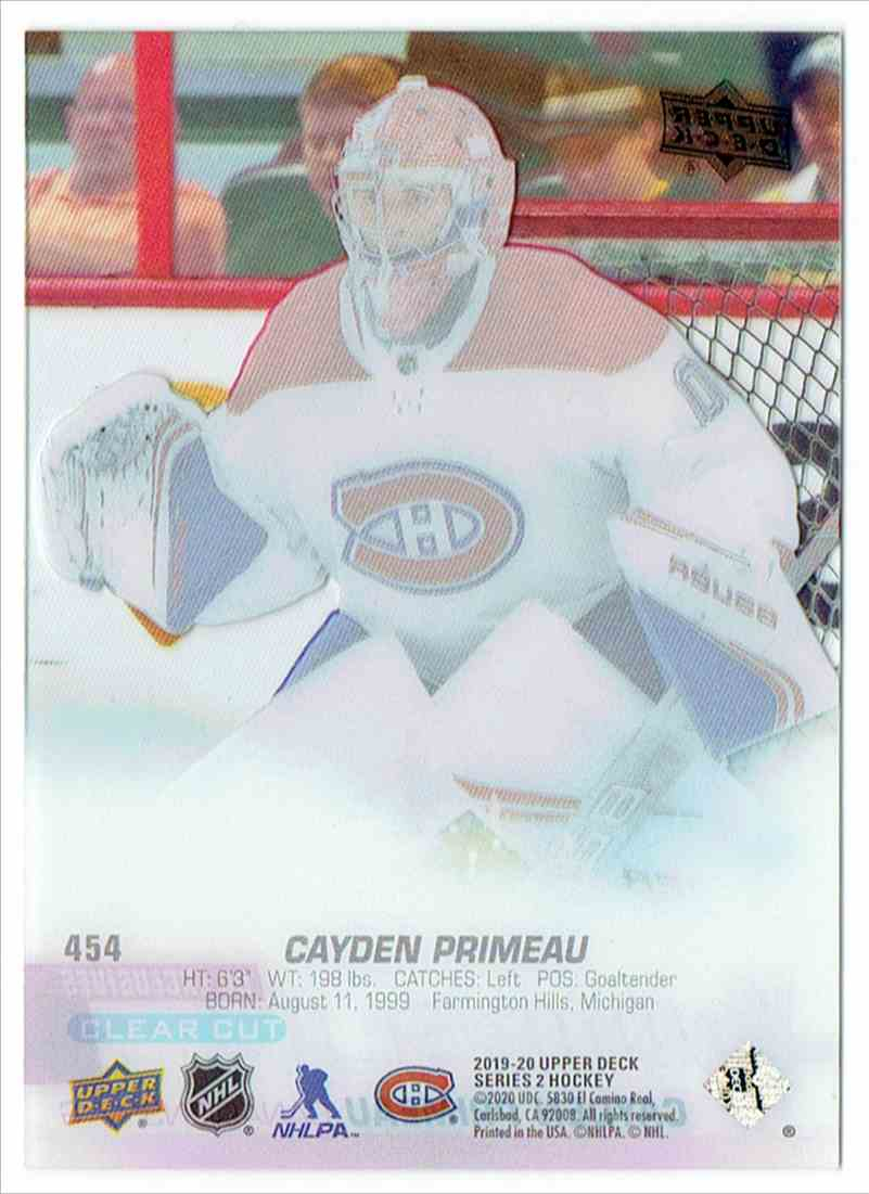 2019-20 Upper Deck Young Guns Clear Cut UD Exclusives Cayden Primeau #454 card back image