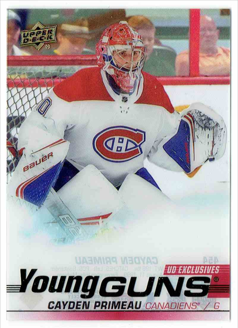 2019-20 Upper Deck Young Guns Clear Cut UD Exclusives Cayden Primeau #454 card front image