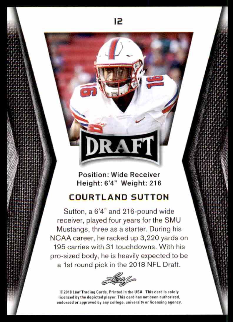 2018 Leaf Draft Courtland Sutton #12 card back image