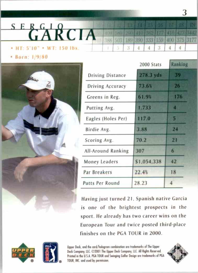 2001 Upper Deck Sergio Garcia RC #3 card back image