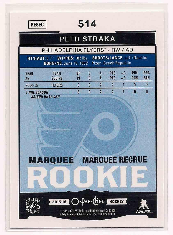 2016-17 O-Pee-Chee Rainbow Petr Straka #514 card back image