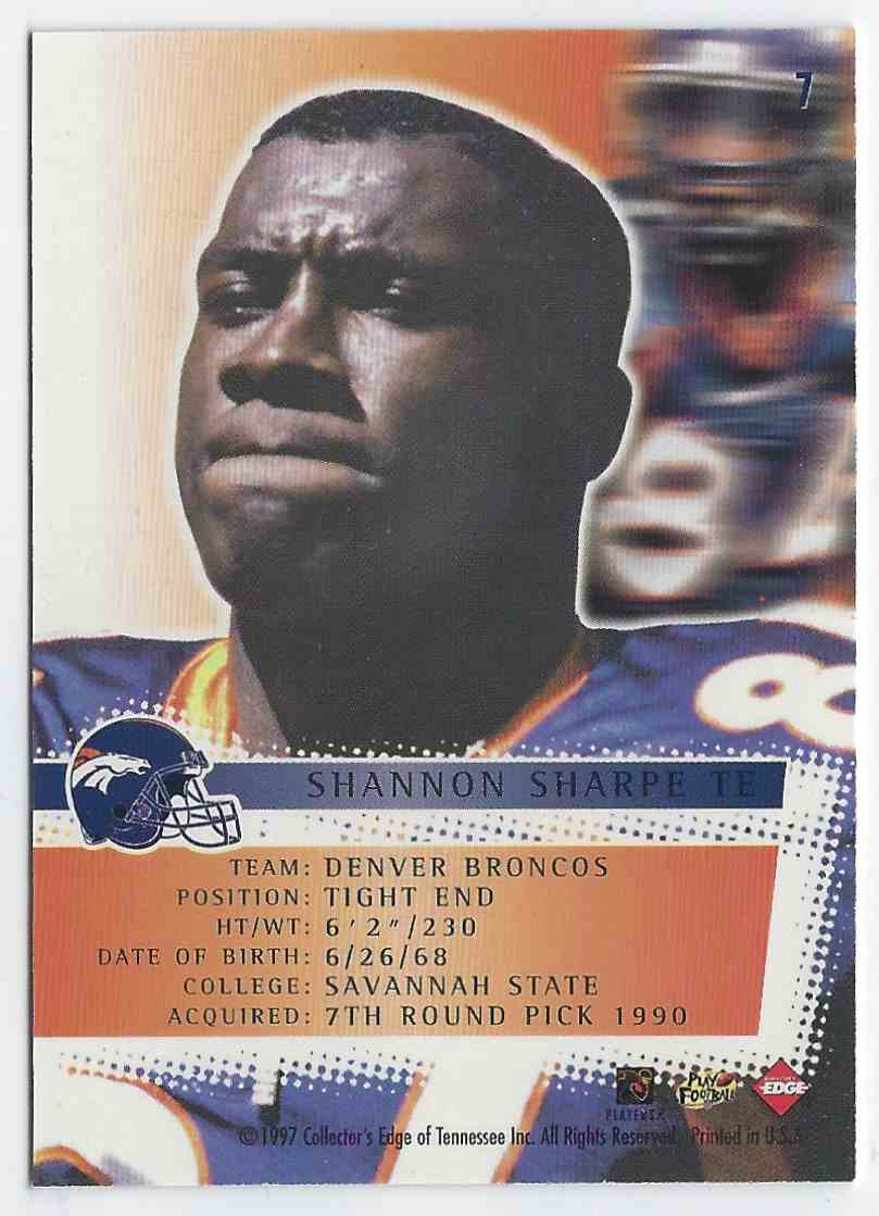 1997 Collector's Edge Extreme Force Shannon Sharpe #7 card back image