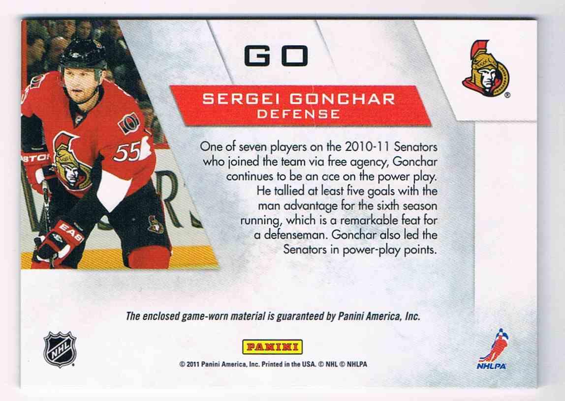 2010-11 Zenith Winter Warriors Sergei Gonchar #GO card back image