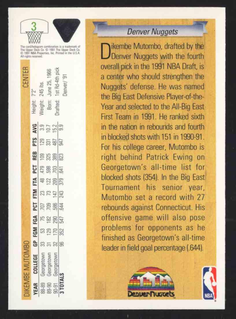 1991-92 Upper Deck Dikembe Mutombo #3 card back image