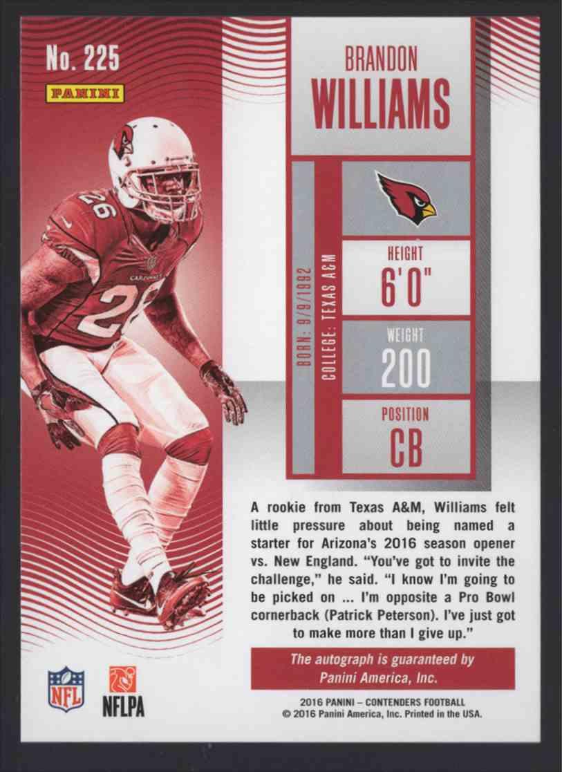 2016 Panini Contenders Brandon Williams #225 card back image