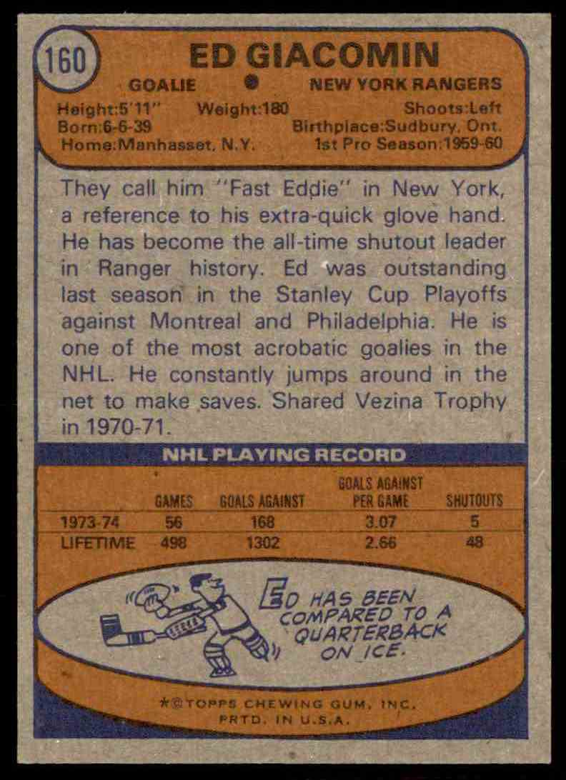 1974-75 Topps Ed Giacomin #160 card back image