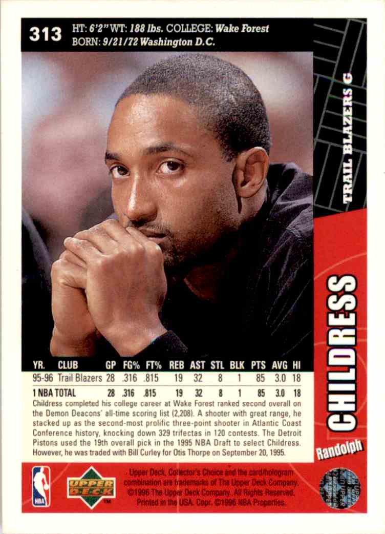 1996-97 Collector's Choice Randolph Childress #313 card back image
